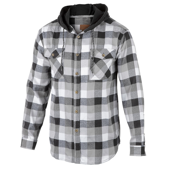 Men's Plaid Flannel Long-Sleeve Hooded Shirt