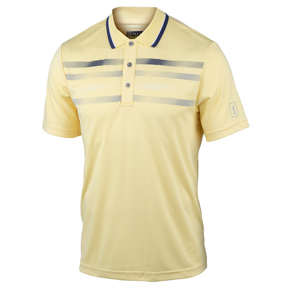 Men's Short-Sleeve Fusion Chest Stripe Golf Polo