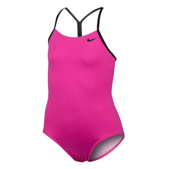 Girls' Solid Skinny-Strap One-Piece Swimsuit