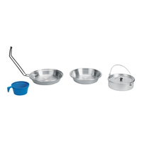 Stansport Heavy-Duty Polished Aluminum Mess Kit