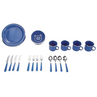 Stansport 24-Piece Enamel Tableware Set