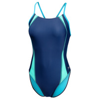 Speedo Women's Flipback Splice Navy Competition One-Piece Swimsuit