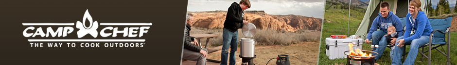 Camp Chef - a young man cooking food in a stainless steel container attached to a propane tank and a couple sitting roasting marshmallows on a gas fire pit
