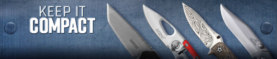 keep it compact - 4 different knives overlaying a blue background