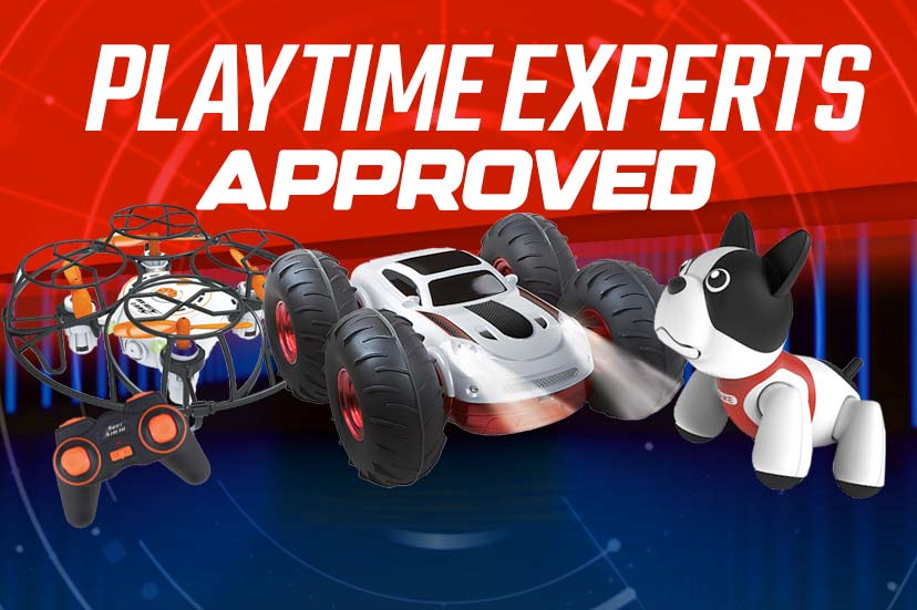 Playtime Experts Approved - Assortment of rc toys on red and blue background