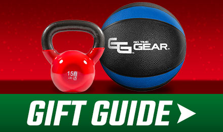 Holiday Gift Guide - an image of go time gear fitness equipment on a red background with gift guide button at the bottom