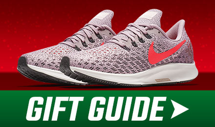 Holiday Gift Guide - Nike Air Zoom Pegasus 35 - a pair of rose running shoes with gift guide button at the bottom