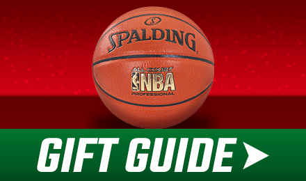 Holiday Gift Guide - Spalding basketball with green gift guide button at the bottom