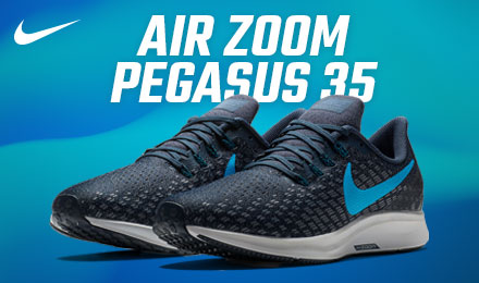 Nike Air Zoom Pegasus 35 - a pair of rose running shoes with gift guide button at the bottom