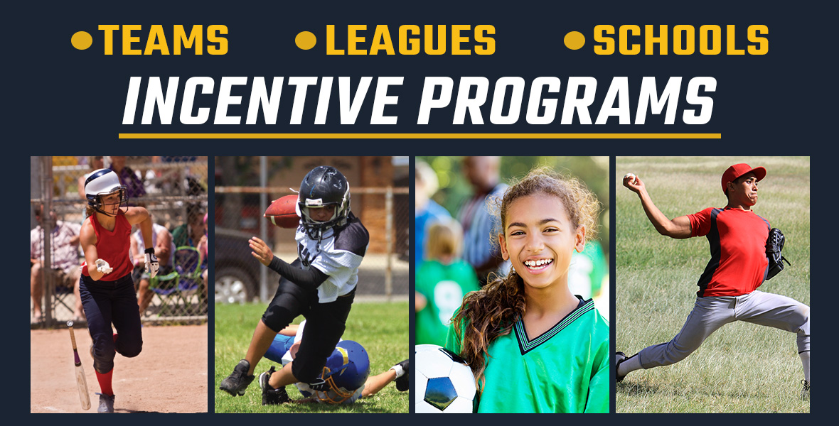 Incentive Programs - Image of girl running after baseball hit, boy running with football, girl smiling with soccer ball, boy throwing baseball