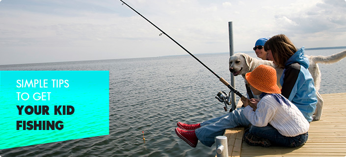 Simple Tips to Get Your Kid Fishing - family fishing off a dock with their dog